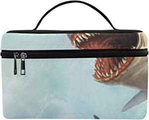 Fierce Great White Shark Pattern Lunch Box Tote Bag Lunch Holder Insulated Lunch Cooler Bag For Women/men/picnic/boating/beach/fishing/school/work