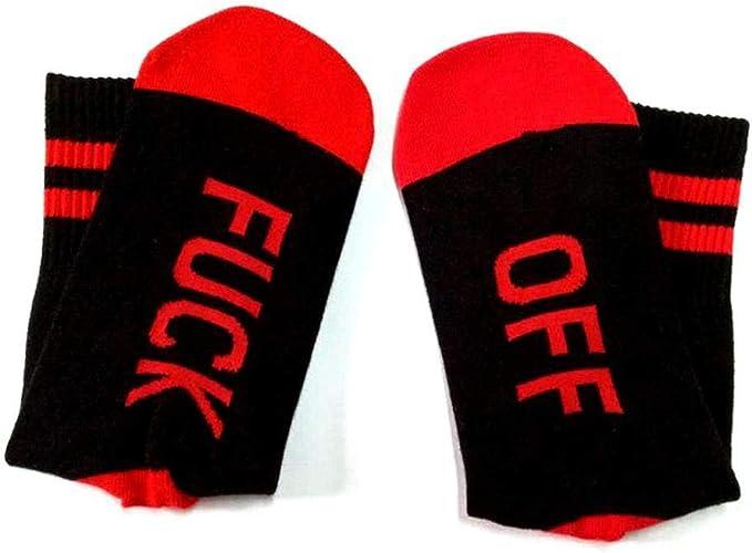 Voiks Calcetines Algodon Hombre Mujer Ni/ñas Calcetines Largo con Fuck Off Antideslizantes Respirable Calcetines Amor Mujer para Oto/ño e Invierno Calcetines Calientes Deportivos