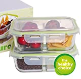 divided lunch container for kids - Glass Meal Prep Container, with 3 compartments(2 Pack). Locking, Airtight, Leak Proof, BPA Free Lid. Perfect for Packed Lunch. Portion Control for Diets. Microwave, Oven, Freezer, Dishwasher Safe.