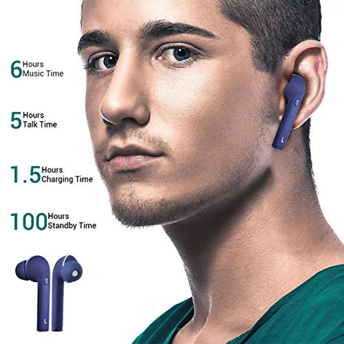 pTron Bassbuds Lite in-Ear True Wireless Bluetooth Headphones (TWS) with Mic - (Blue)