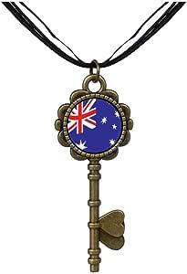Chicforest Bronze Retro Style Australia Flag Key to Her Heart Pendant
