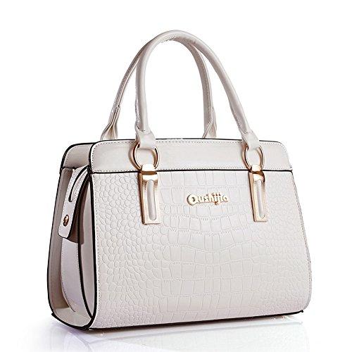 pelle borsa Spalla Shoulder G Bag AVERIL bianco con Handbag tasche mano in Tote Borsa a PU Bag Mutil Donna a Borse zxtzn0wgq