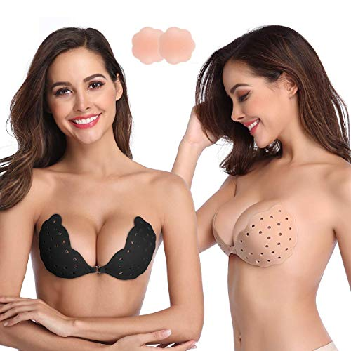 Niidor Sticky Bra, 2 Pack Breathable Strapless Bra Adhesive Push Up Backless Bras for Women-B Nude/Black