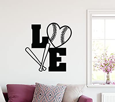 "24""x24"" Softball Love Spelled Out With Ball Heart Shape and Bat Sport Team Game Wall Decal Sticker Art Mural Home Decor Quote"
