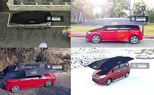 Hail LANMODO Pro Four-season Automatic Car Tent Cover Carport Folded,Car Umbrella Tent Car Sunshade Remote Control with Anti-UV,Water-Proof,Proof Wind,Snow Storm Falling Objects 188.97X90.5 inch 4.8M Auto without Stand, Black