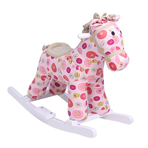 HollyHOME Rocking Horse with Sound Stuffed Animal Ride On Toy Pink By (Rocking Plush Horse Sound With)