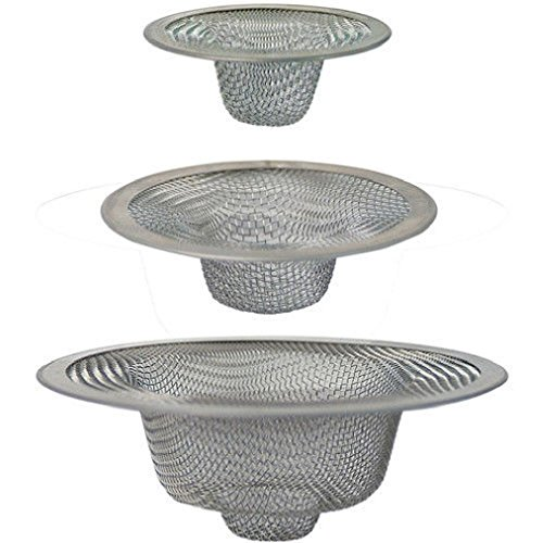 3pc Assorted Size STAINLESS STEEL MESH STRAINER Shower Tub Kitchen Bathroom SINK (Metal Toilet Scrubber compare prices)