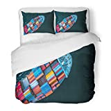 SanChic Duvet Cover Set Technology Aerial View From Drone Container Ship in Import Export and Logistic Asia Decorative Bedding Set with Pillow Sham Twin Size