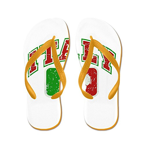 Price comparison product image Royal Lion Kid's Italy Soccer Grunge Italian Flag Orange Rubber Flip Flops Sandals 11.5-13