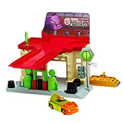 Explore the Turtles' World with the Sewer Gas Station set. Includes exclusive Mikey in T-Rawket! Features Launch ramp to take out the Kraang! Hidden escape ramp launchers vehicle down! Rooftop Lift! 2 Levels of Play! Which include Kraang Batt...