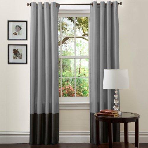 Triangle Home Fashions Lush Decor Prima Window Curtains - One Pair, Silver/Black, Faux Silk, 54L x 120W in.