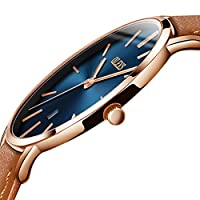 Amazon Watch,Thin Mens Watches,Men's Watch Blue/White/Black Dial Wrist Watches,Mens Leather Watch Black\Yellow\Brown Simple Men Business Watch with Date,Waterproof Quartz Casual Watch