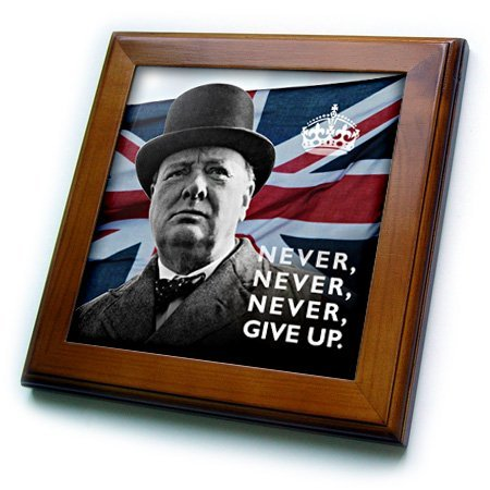 Churchill Tile (3dRose ft_220216_1 Winston Churchill- Never Give Up Quotation Over Union Jack Background-Framed Tile, 8 by 8