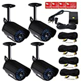 VideoSecu 4 x CCTV Outdoor Day Night Vision Bullet Security Cameras Infrared Color Video Home Surveillance with Power Supply and Extension Cables CTJ