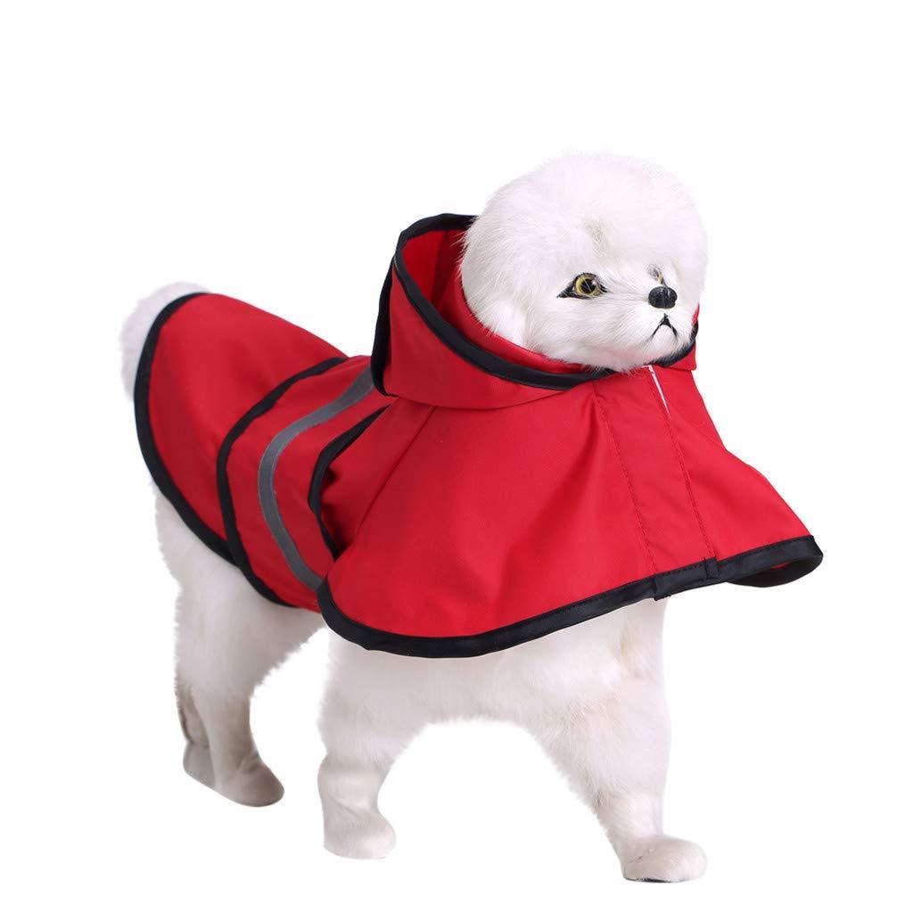 Glumes Cute Dog Hooded Rain Poncho Large Dog Rain Jacket Poncho Adjustable with Hood Dog Raincoat & Safe Reflective Stripes for Small Medium Large Dog Puppy
