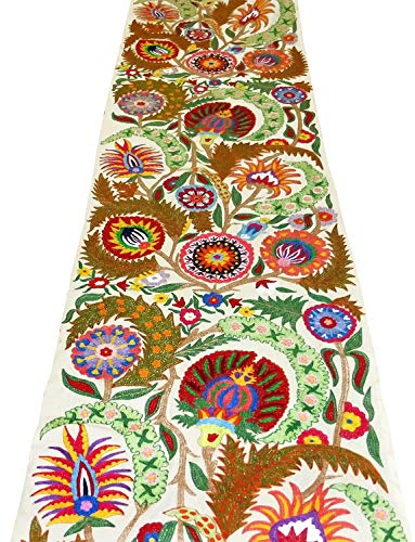 (UZBEK HANDCRAFTED FULLY SILK EMBROIDERED COTTON SUZANI FABRIC BY YARDAGE A11037)