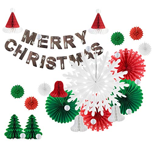 Merry Christmas Party Paper Decorations Paper Bell Christmas Tree Honeycomb Snowflake Paper Fans, Red White Green, Easy Joy