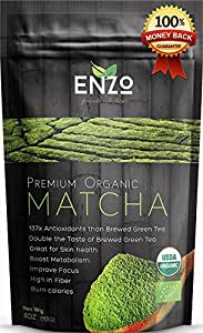 Classic & Ceremonial Blend Matcha Green Tea Powder (4oz) USDA Certified Organic Premium Culinary Maccha Zen Buddhist Grade Teas, Great for Drinking with or without whisk as hot tea, latte and baking