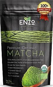Organic Matcha Green Tea Powder - (4oz 113 Servings) Premium Culinary Grade Maccha & USDA Certified by Ceres, a Zen Buddhist Grade Teas . Great for Drinking as hot tea, latte , baking