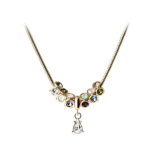 Martine Wester Necklace Colorful Crystal from Swarovski Drop Pendant Adjustable Snake Chain Plated Silver Luxurious Classy Jewelry for Women