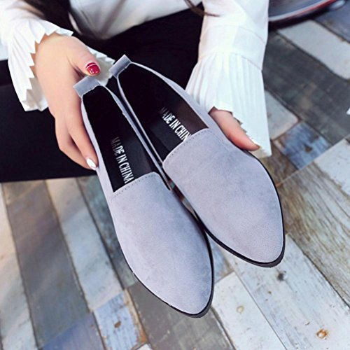 Byste Women Flat Pointed Shoes, Loafer Ladies Casual Scrub Shoes Solid Slip Sandals Gray