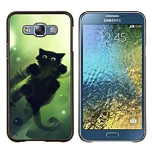 Cubierta protectora del caso de Shell Plástico || Samsung Galaxy E7 E700 || Lindo gato Espejo de Agua Reflexión Negro @XPTECH