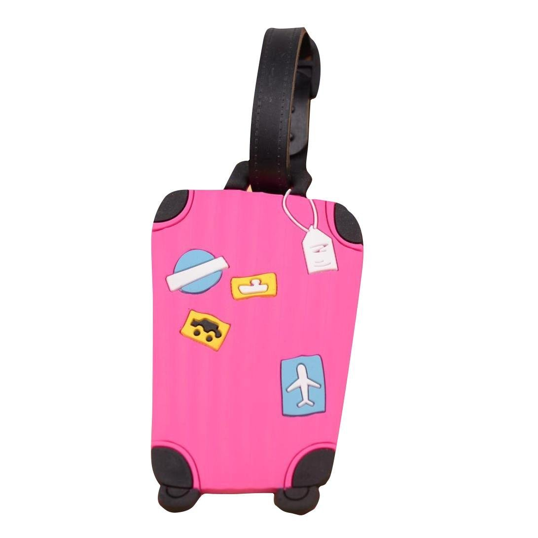 Fullkang Cute Cartoon Suitcase Luggage Tags ID Address Holder Silicone Identifier Label (Hot Pink)