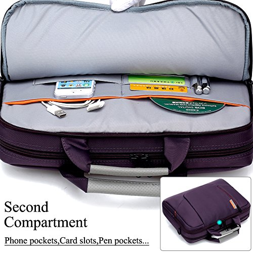 BRINCH Nylon Waterproof Laptop Case with Side Pockets for Macbook Pro Retina 15 inch Mini Asus/DELL/HP/Samsung ,15.6-Inch, Purple by BRINCH (Image #2)'