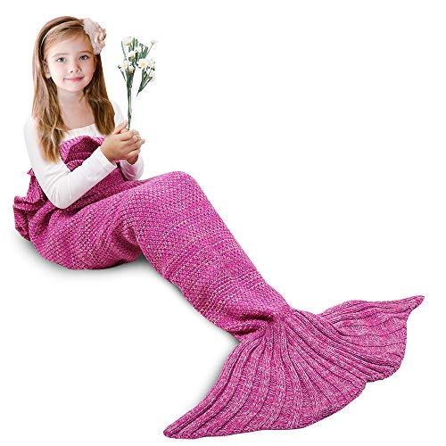 AmyHomie Mermaid Tail Blanket, Mermaid Blanket Adult Mermaid Tail Blanket, Crotchet Kids Mermaid Tail Blanket for Girls (Pink, Kids)