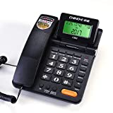 Green Screen Backlight Classic Black and White Two-Color Business Special Landline Telephone Home Fixed Telephone Office Hotel Landline (Color : Black)
