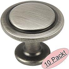"Cosmas 5560AS Antique Silver Cabinet Hardware Round Knob - 1-1/4"" Diameter - 10 Pack"