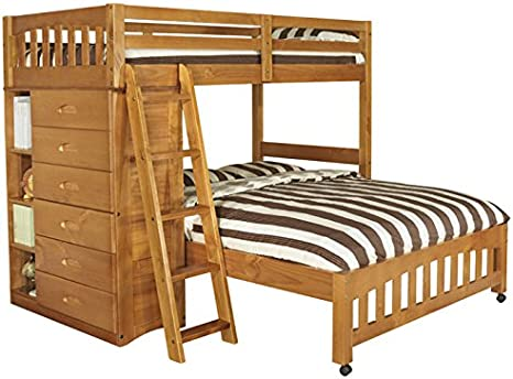 Discovery World Furniture Weston Twin Over Full L Shaped Bunk Bed With Bookshelves And Storage Honey Bedroom Furniture S Modern Style 20 Slats Headboard Shipping Within 5 7