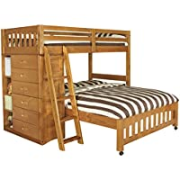 Discovery World Furniture Weston Twin over Full L-Shaped Bunk Bed with Bookshelves and Storage - Honey - Bedroom Furnitures - Modern Style - 20 Slats - Headboard - Shipping Within 5-7 Days - 1 Year Product Warranty