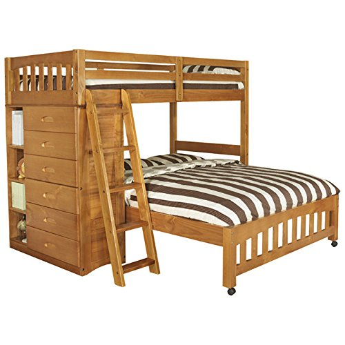 Discovery World Furniture Weston Twin over Full L-Shaped Bunk Bed with Bookshelves and Storage - Honey - Bedroom Furniture