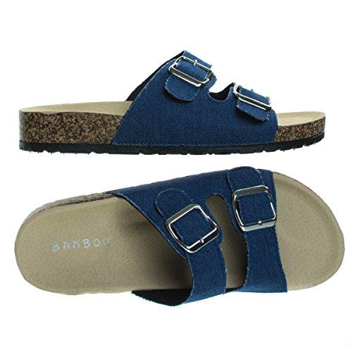 Sottopiede Modellato In Bambù, Scivolo Casual In Denim Sandalo Piatta Blu Sandalo A 2 Strap