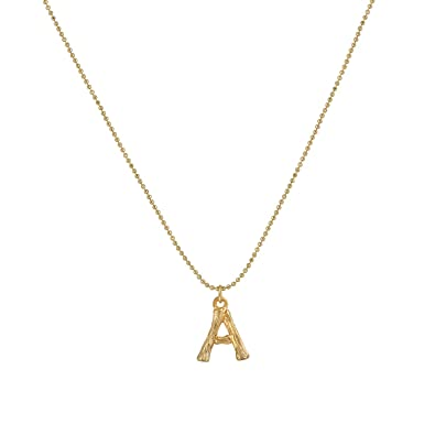 ba68b9e69354b Dremmy Bamboo Initial Necklace,14K Gold Plated Personalized Name Initial  Pendant Necklace