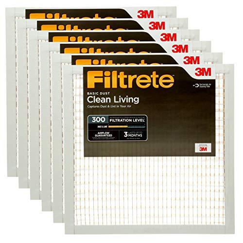 Filtrete MPR 300 20x20x1 AC Furnace Air Filter, Clean Living Basic Dust, 6-Pack