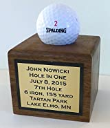 Valley Forge Wood Products Hole in One Display, Golf Cube, Solid Walnut, Personalized Made in USA