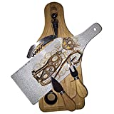 Steampunk Kitty Cat Wine & Cheese Set Glass Cutting Board