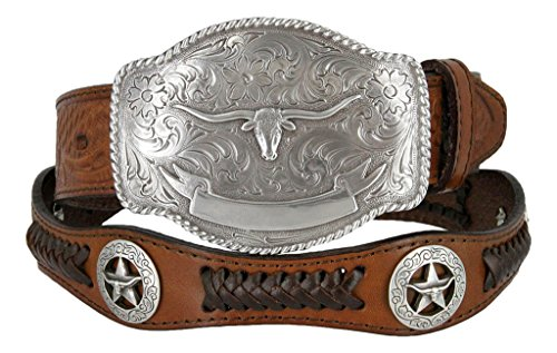 State of Texas Longhorn and Star Western Embossed Leather Belt (34, Brown)