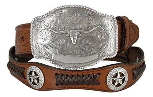State of Texas Longhorn and Star Western Embossed Leather Belt (34, (Texas Longhorns Belt)
