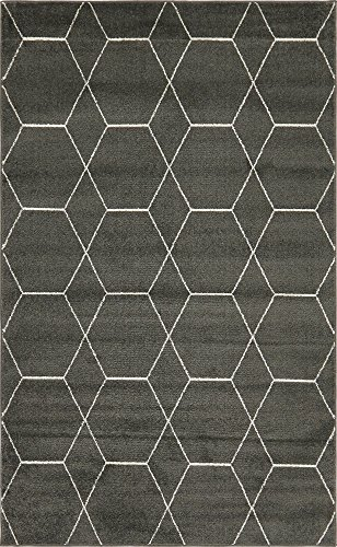 Frieze Collection Lattice Moroccan Geometric Modern Dark Gray Area Rug (5' x 8') ()
