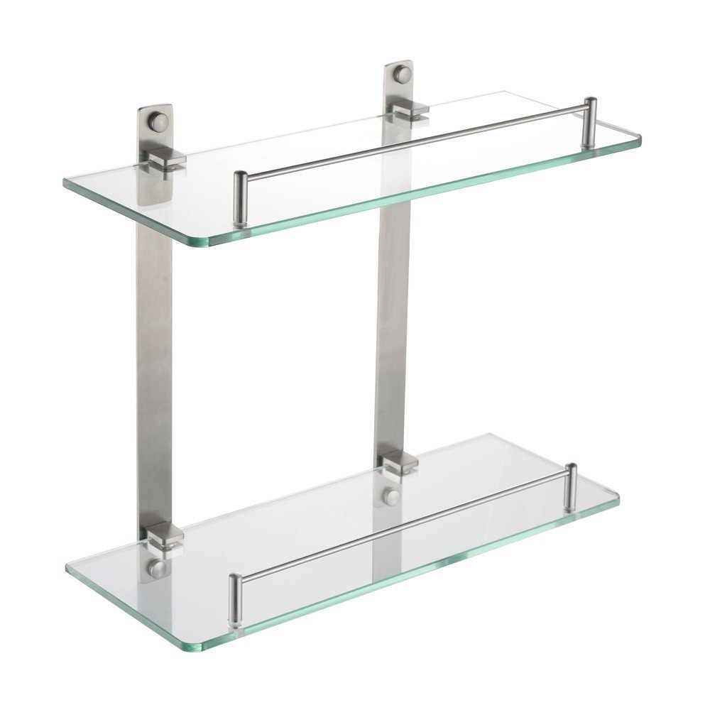 HOMEIDEAS 14-Inch Bathroom Frosted Glass Shelf Stainless Steel Lavatory Two Tiers Tempered Glass Wall Mounted Shelf,Brushed Nickel