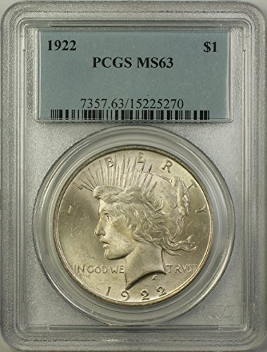 1922 Peace Silver Dollar Coin (ABR11-J) $1 MS-63 PCGS