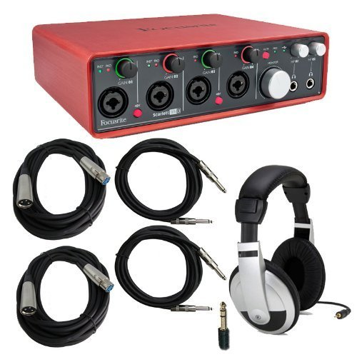 Focusrite Scarlett 18i8 Audio Interface Bundle with Headphones & Cables by Focusrite