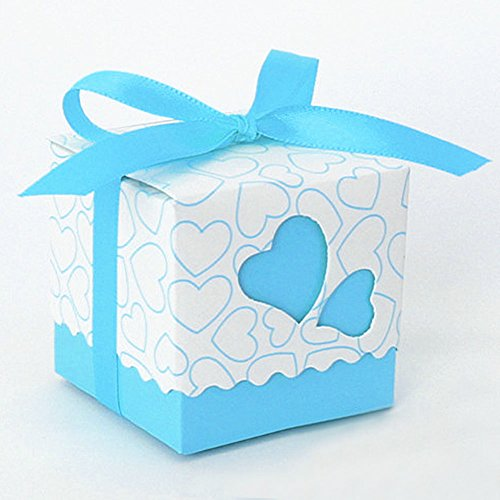 50pcs Handmade Love-Heart Suitcase Sweet Married Gift Boxes,Woopower Candy Packaging Carton For Wedding 5cm*5cm*5cm (Light Blue)