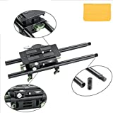 GOWE Adjustable Bridge Plate Baseplate for 15mm Rail Rig + Pair 300mm Rod for DSLR Follow Focus Video Camera