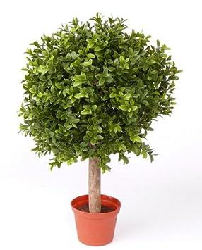artplants Set 2 x Künstliche Buchskugel Tom auf Stamm, 250 Blätter, 35cm, Ø 25cm - künstliche Buchsbaumkugel Buxkugel Buchsba