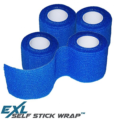 ExL Performance Self-Stick Wrap - 4-Pack - Flexible Non-Stick, Self-Adherent, Pressure Wrap Gauze Bandage - Latex-Free (Blue) - Large Roll (15 feet Long and 2 inches Wide)
