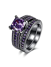 Eternity Love Wedding Bands Women's 18K Black Gold Plated Rings Princess Cut Blue/Green/Purple/Black CZ Crystal Engagement Rings Best Promise Rings Anniversary Wedding Rings for Lady Girl